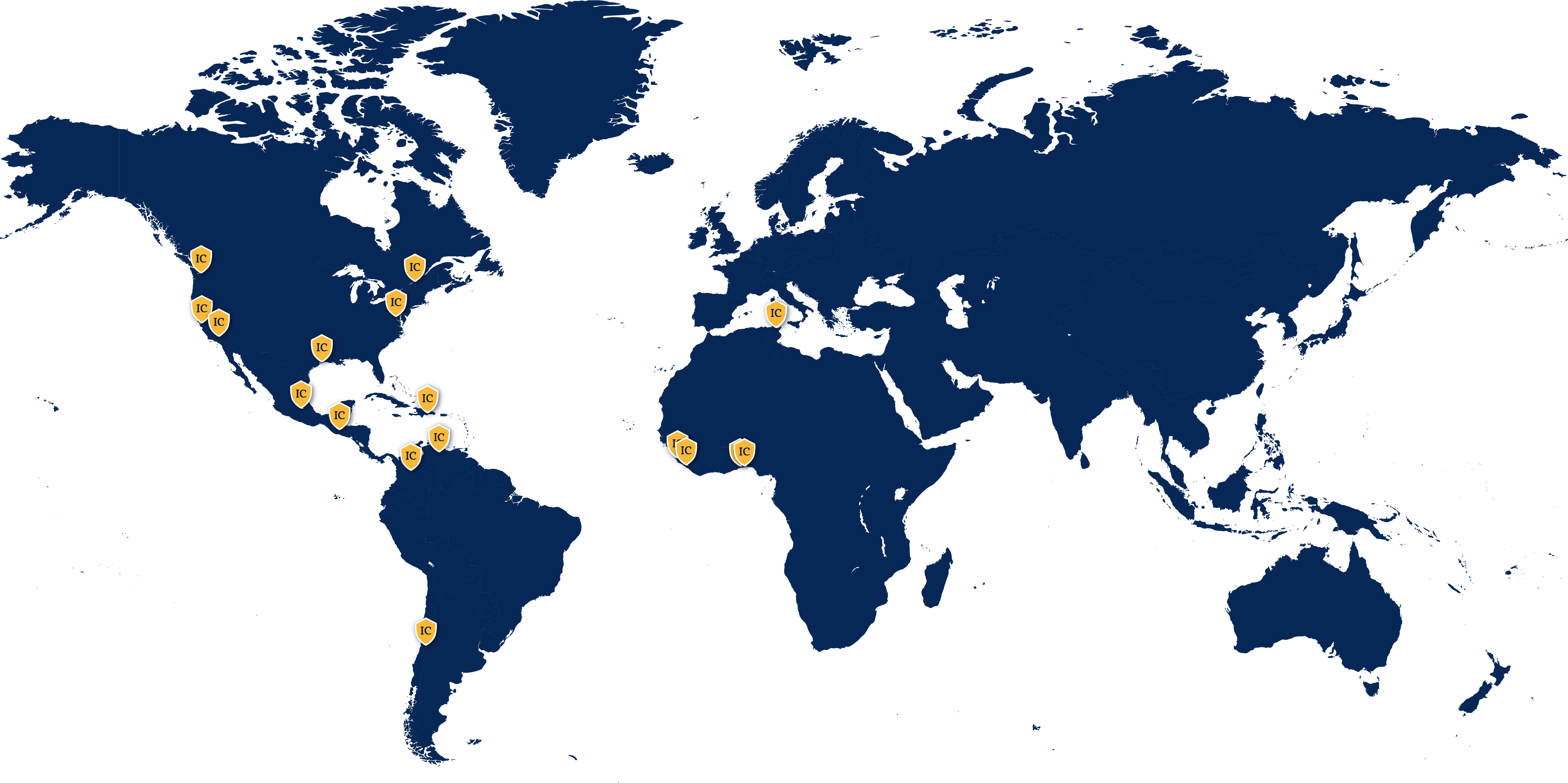 World map with labeled Inter-Con Headquarters