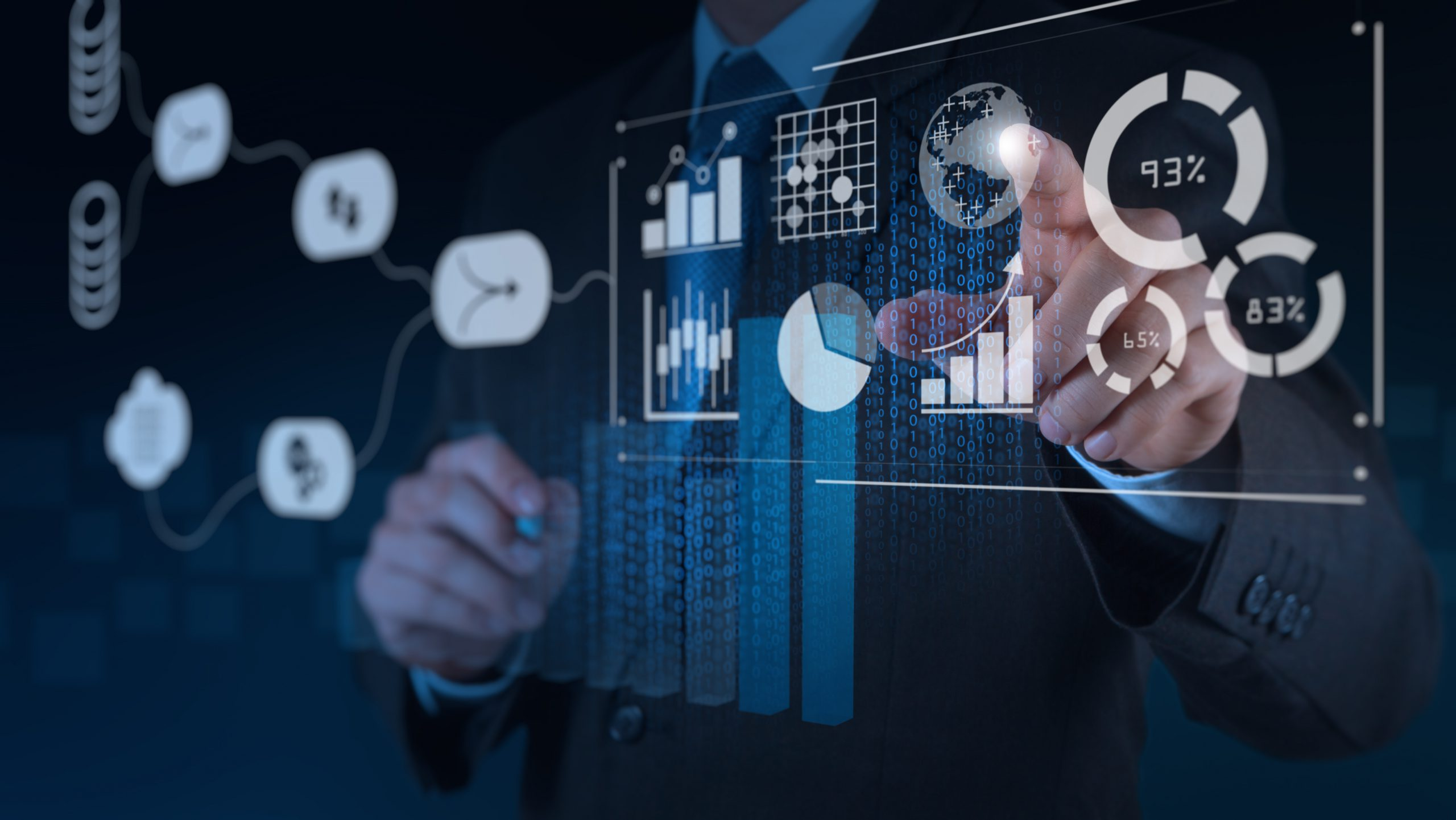 Data Management System (DMS) with Business Analytics concept. businessman working with provide information for Key Performance Indicators (KPI) and marketing analysis on virtual computer